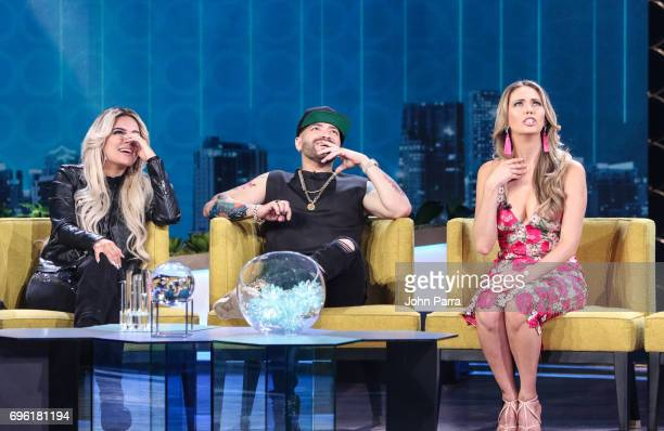 Karol G Nacho and Jessica Carrillo are seen at Telemundo's 'Don Francisco Te Invita' on May 18 2017 in Miami Florida