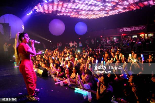 Karol G performs at Spectrum Presents Sebastian Yatra Powered by Pandora on October 18 2017 in Tampa Florida