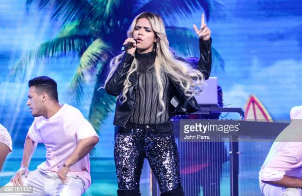 Karol G performs at Telemundo's 'Don Francisco Te Invita' on May 18 2017 in Miami Florida