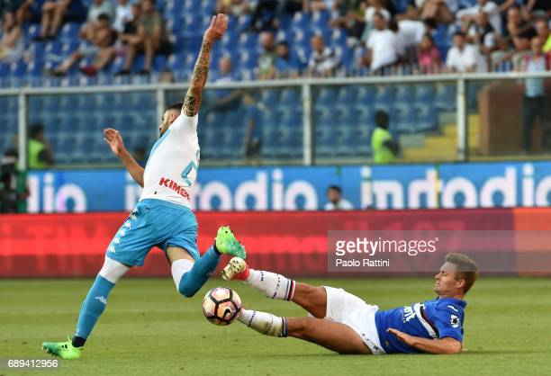 Karol Linetty and Elseid Hysaj during the Serie A match between UC Sampdoria and SSC Napoli at Stadio Luigi Ferraris on May 28 2017 in Genoa Italy