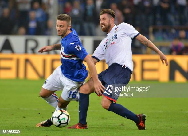 Karol Linetty and Mariano Izco during the Serie A match between UC Sampdoria and FC Crotone at Stadio Luigi Ferraris on October 21 2017 in Genoa Italy