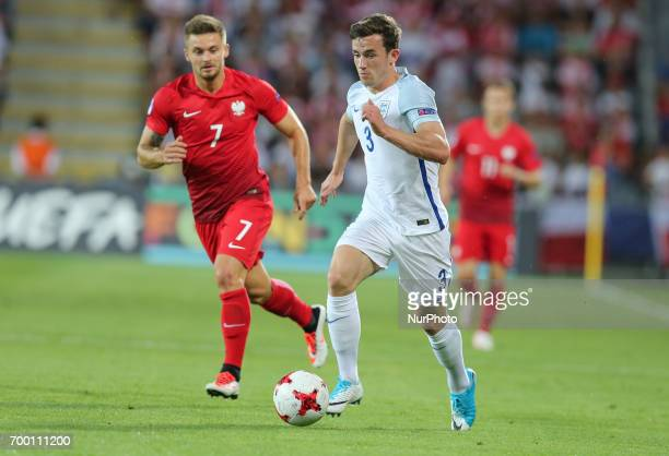 Karol Linetty Ben Chilwell during the UEFA European Under21 Championship Group A match between England and Poland at Kielce Stadium on June 22 2017...