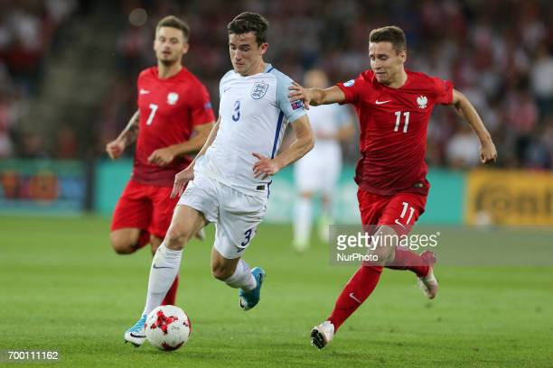 Karol Linetty Ben Chilwell Przemyslaw Frankowski during the UEFA European Under21 Championship Group A match between England and Poland at Kielce...