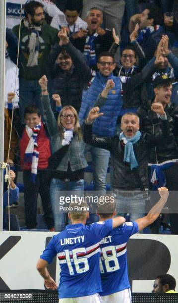 Karol Linetty celebrate after 40 during the Serie A match between UC Sampdoria and FC Crotone at Stadio Luigi Ferraris on October 21 2017 in Genoa...