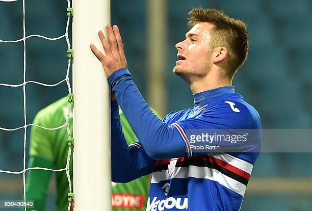 Karol Linetty of Sampdoria shows his dejection during the Serie A match between UC Sampdoria and Udinese Calcio at Stadio Luigi Ferraris on December...