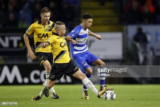 Karol Mets of NAC Breda Jose Angelino of NAC Breda Younes Namli of PEC Zwolle during the Dutch Eredivisie match between NAC Breda and PEC Zwolle at...