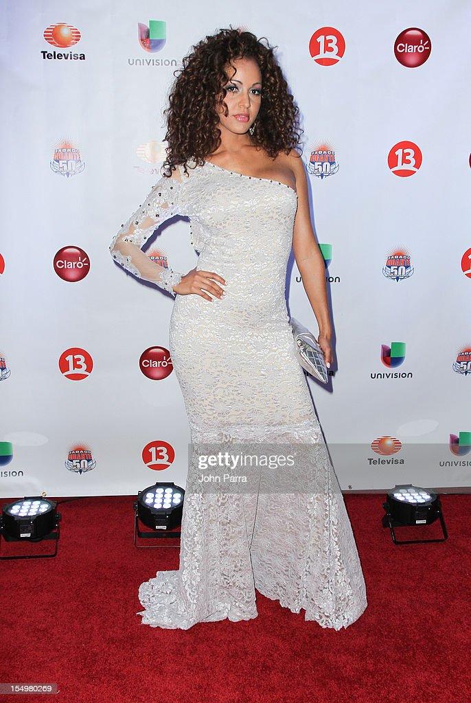 Karol Rosa arrives at Sabado Gigantes 50th Anniversary Gala Red Carpet at JW Marriott Marquis on October 28, 2012 in Miami, Florida.