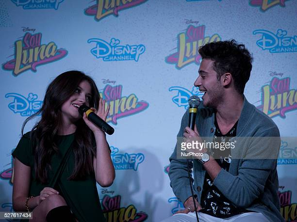 Karol Sevilla and Ruggero Pasquarelli answer questions during the press conference at the Book Fair on May 2 2016 in Buenos Aires Argentina