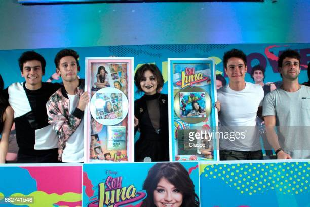 Karol Sevilla and the cast of the TV show 'Soy Luna' pose during a press conference where they received a gold record and announced their show on...