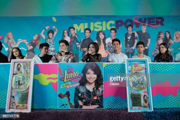Karol Sevilla and the cast of the TV show 'Soy Luna' speak during a press conference where they received a gold record and announced their show on...
