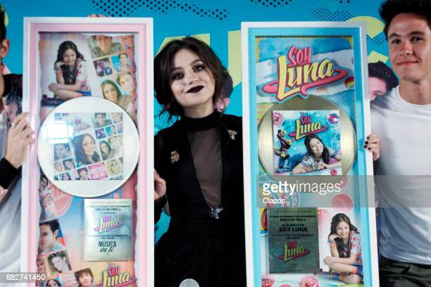 Karol Sevilla of the TV show 'Soy Luna' poses during a press conference where they received a gold record and announced their show on April 28 2017...