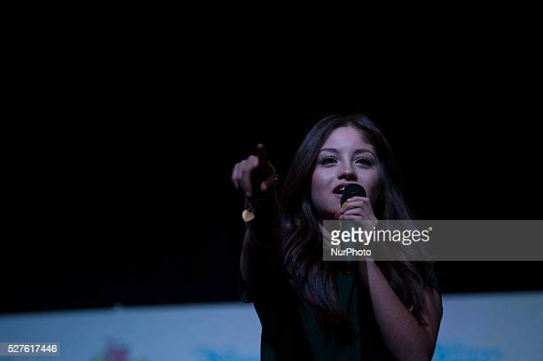 Karol Sevilla the protagonist of the novel sings a song in the press conference at the Book Fair on May 2 2016 in Buenos Aires Argentina
