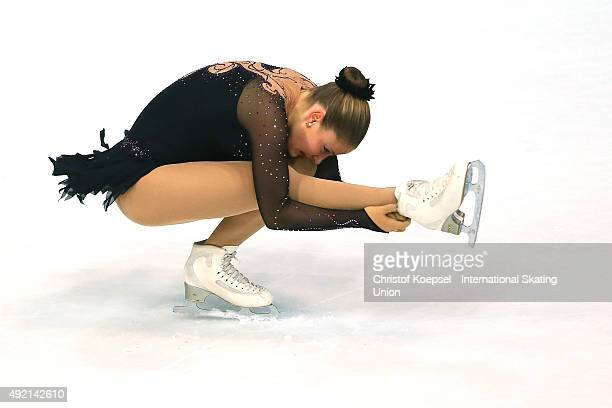 Karoliina Luhtonen of Finland skates during the junior ladies free skating of the ISU Junior Grand Prix at Dom Sportova on October 10 2015 in Zagreb...