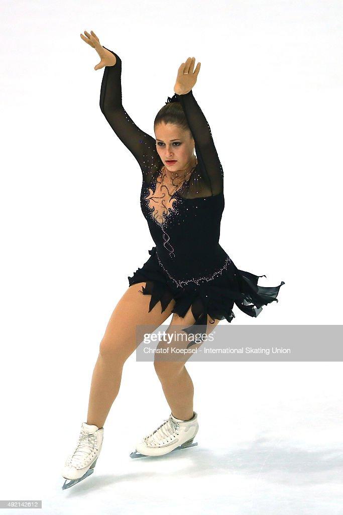 Karoliina Luhtonen of Finland skates during the junior ladies free skating of the ISU Junior Grand Prix at Dom Sportova on October 10 2015 in Zagreb...