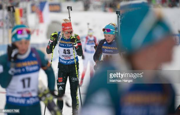 Karolin Horchler of Germany shows her disappointment after the 10 km Women's Pursuit during the BMW IBU World Cup Biathlon on December 0 2017 in...
