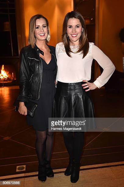 Karolin Kandler and Birgit Noessing attend the German premiere of the tv show 'Altes Geld' at Hotel Bayerischer Hof on January 26 2016 in Munich...