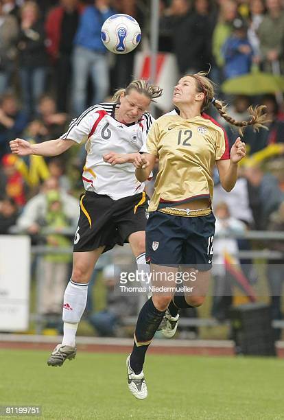 Karolin Thomas of Germany battles for the ball with Kiara Bosio of the USA during the U23 women's friendly match between Germany and USA at the...