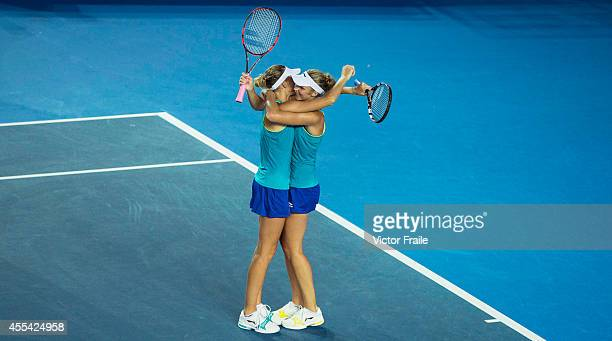 Karolina and Kristyna Pliskova of Czech Republic celebrate after winning the doubles final match during the Hong Kong Tennis Open against Patricia...