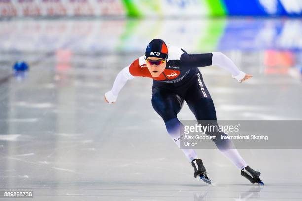 Karolina Erbanova of the Czech Republic competes in the ladies 1000 meter final during day 3 of the ISU World Cup Speed Skating event on December 10...