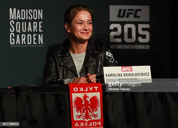 Karolina Kowalkiewicz answers a question during the UFC 205 press conference at The Theater at Madison Square Garden on November 10 2016 in New York...