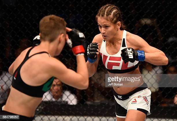 Karolina Kowalkiewicz circles Rose Namajunas in their women's strawweight bout during the UFC 201 event on July 30 2016 at Philips Arena in Atlanta...
