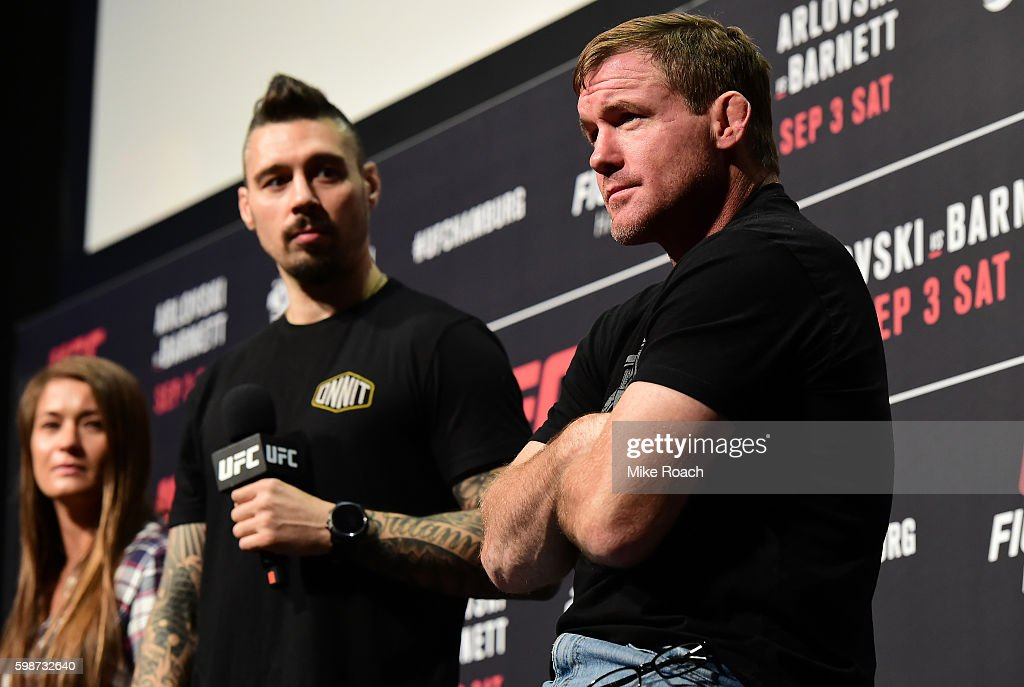 Karolina Kowalkiewicz, Dan Hardy and UFC Hall of Famer Matt Hughes answers questions for fans and media during a Q&A before the UFC Fight Night Weigh-in held at Barclaycard Arena on September 2, 2016 in Hamburg, Germany.
