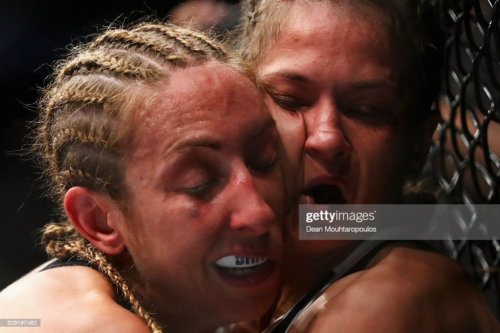 Karolina Kowalkiewicz (R) of Poland and Heather Jo Clark of the USA compete in their Women's Strawweight bout during the UFC Fight Night 87 at Ahoy on May 8, 2016 in Rotterdam, Netherlands.