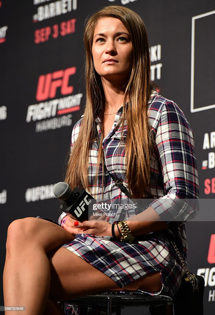 Karolina Kowalkiewicz of Poland answers questions for fans and media during a Q&A before the UFC Fight Night Weigh-in held at Barclaycard Arena on September 2, 2016 in Hamburg, Germany.
