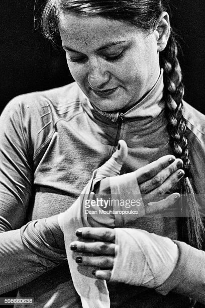 Karolina Kowalkiewicz of Poland gets ready for the UFC Open Workout with Karolina Kowalkiewicz Susiana Kentikian at Hammerbrook Gym on September 2...