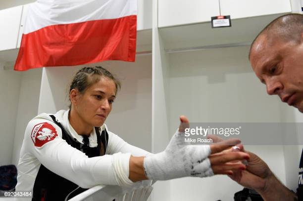 Karolina Kowalkiewicz of Poland has her hands wrapped before her bout against Claudia Gadelha of Brazil during the UFC 212 event at Jeunesse Arena on...