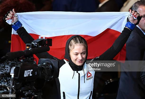 Karolina Kowalkiewicz of Poland heads to the octagon prior to her bout against Joanna Jedrzejczyk of Poland in their women's strawweight championship...