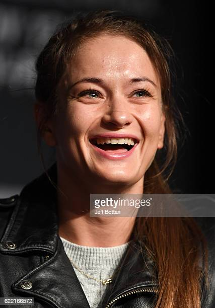 Karolina Kowalkiewicz of Poland interacts with fans and media during the UFC 205 press conference inside The Theater at Madison Square Garden on...
