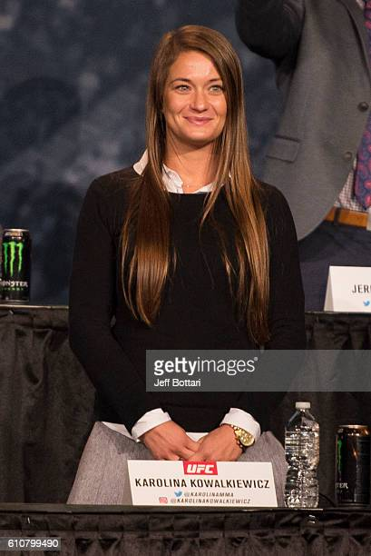 Karolina Kowalkiewicz of Poland interacts with the media and fans during the UFC 205 press event at Madison Square Garden on September 27 2016 in New...