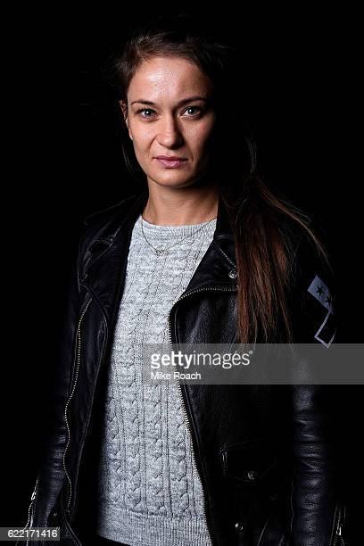 Karolina Kowalkiewicz of Poland poses for a portrait backstage during the UFC 205 press conference inside The Theater at Madison Square Garden on...