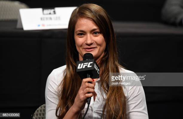 Karolina Kowalkiewicz of Poland speaks to the media during the UFC Summer Kickoff Press Conference at the American Airlines Center on May 12 2017 in...