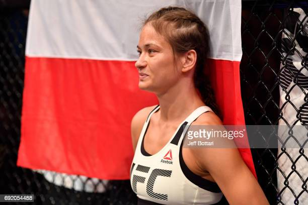 Karolina Kowalkiewicz of Poland stands in the Octagon prior to her womens strawweight bout against Claudia Gadelha of Brazil during the UFC 212 event...