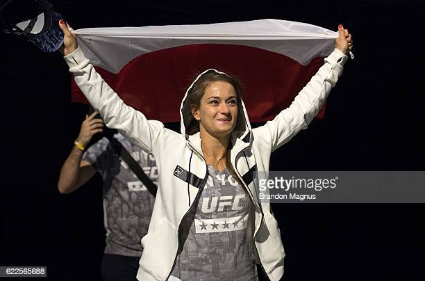 Karolina Kowalkiewicz of Poland walks onto the stage during the UFC 205 weighin inside Madison Square Garden on November 11 2016 in New York City