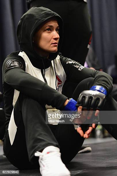 Karolina Kowalkiewicz of Poland warms up in her locker room before her UFC women's strawweight title fight against Joanna Jedrzejczyk during the UFC...