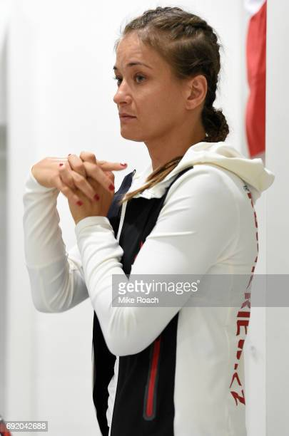 Karolina Kowalkiewicz of Poland warms up in her locker room prior to her bout against Claudia Gadelha of Brazil during the UFC 212 event at Jeunesse...