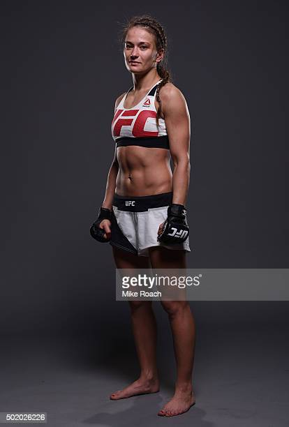 Karolina Kowalkiewicz poses for a post fight portrait backstage during the UFC Fight Night event at the Amway Center on December 19 2015 in Orlando...