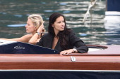 Karolina Kurkova and Adriana Lima are seen while filming for the International Watch Company on May 16 2014 in Portofino Italy