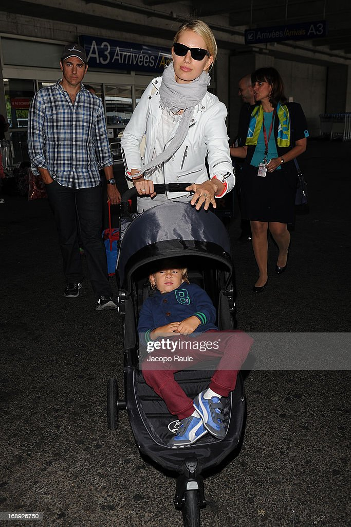 <a gi-track='captionPersonalityLinkClicked' href=/galleries/search?phrase=Karolina+Kurkova&family=editorial&specificpeople=202513 ng-click='$event.stopPropagation()'>Karolina Kurkova</a> and Archie Drury are seen arriving at Nice airport during The 66th Annual Cannes Film Festival on May 17, 2013 in Nice, France.