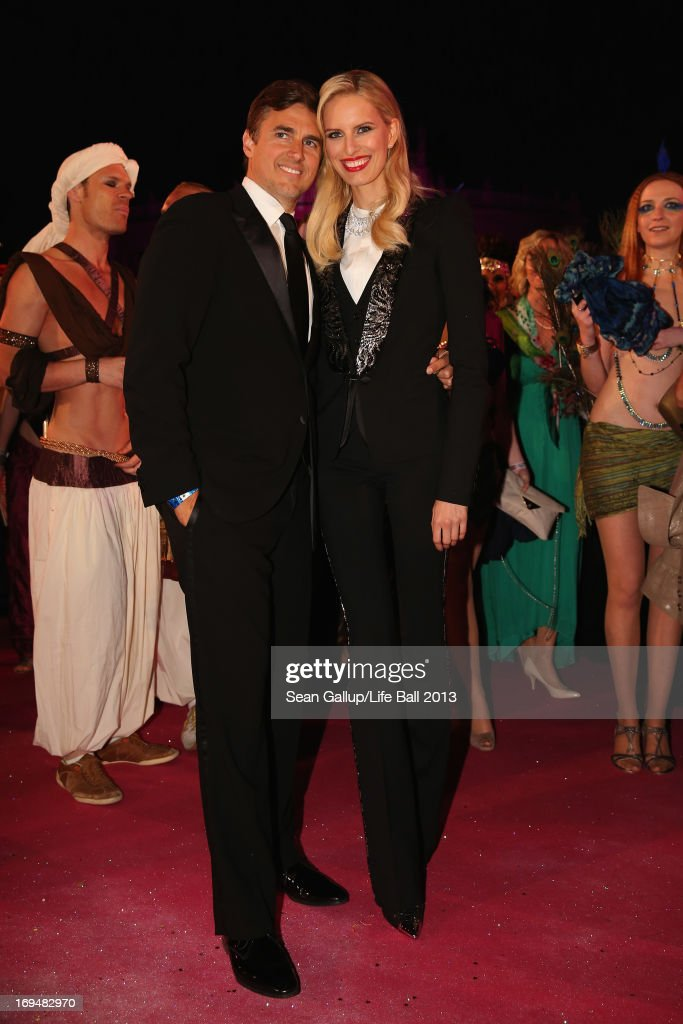 Karolina Kurkova and Archie Drury attend the 'Life Ball 2013 - Magenta Carpet Arrivals' at City Hall on May 25, 2013 in Vienna, Austria.