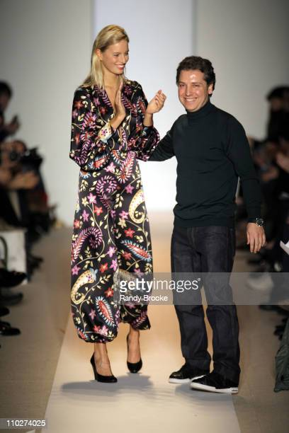Karolina Kurkova and Atil Kutoglu designer during Olympus Fashion Week Fall 2006 Atil Kutoglu Runway at The Promenade Bryant Park in New York City...