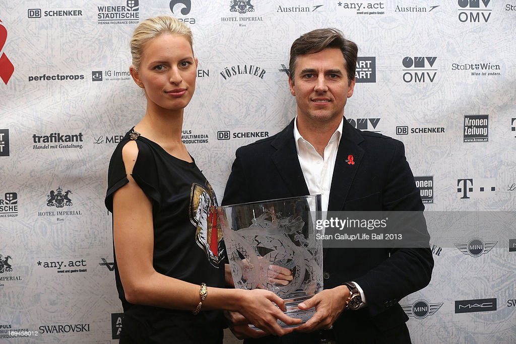 <a gi-track='captionPersonalityLinkClicked' href=/galleries/search?phrase=Karolina+Kurkova&family=editorial&specificpeople=202513 ng-click='$event.stopPropagation()'>Karolina Kurkova</a> and husband Archie Drury attend the 'Life Ball 2013 - Press Conference' at Hotel Imperial Vienna on May 25, 2013 in Vienna, Austria.