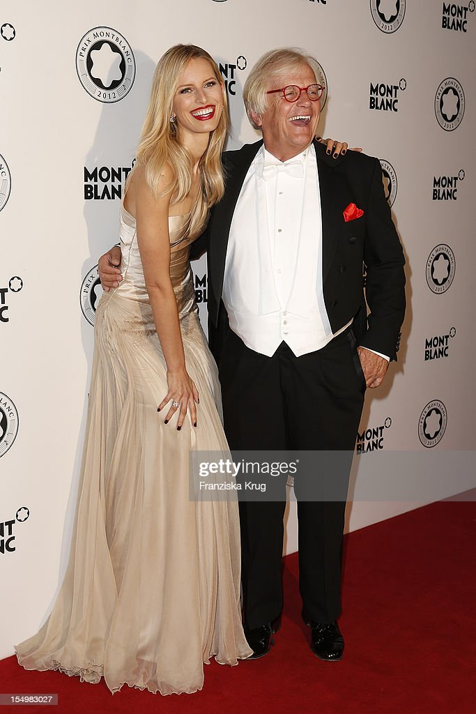 Karolina Kurkova (L) and Justus Frantz attend the PRIX Montblanc 2012 at the 'Konzerthaus am Gendarmenmarkt' on October 29, 2012 in Berlin, Germany.