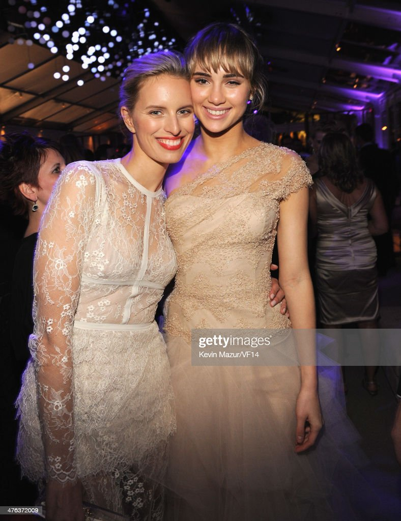 Karolina Kurkova and Suki Waterhouse attend the 2014 Vanity Fair Oscar Party Hosted By Graydon Carter on March 2, 2014 in West Hollywood, California.