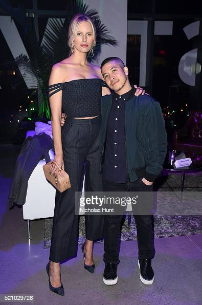 Karolina Kurkova and Thakoon attend the 2016 Tribeca Film Festival Opening Night Party at Spring Studios on April 13 2016 in New York City