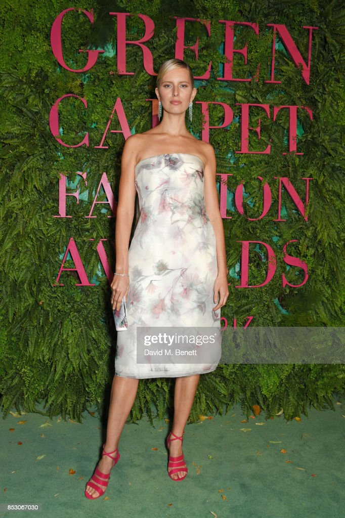 Karolina Kurkova attends the Green Carpet Fashion Awards, Italia, wearing Salvatore Ferragamo for the Green Carpet Challenge at Teatro Alla Scala on September 24, 2017 in Milan, Italy.