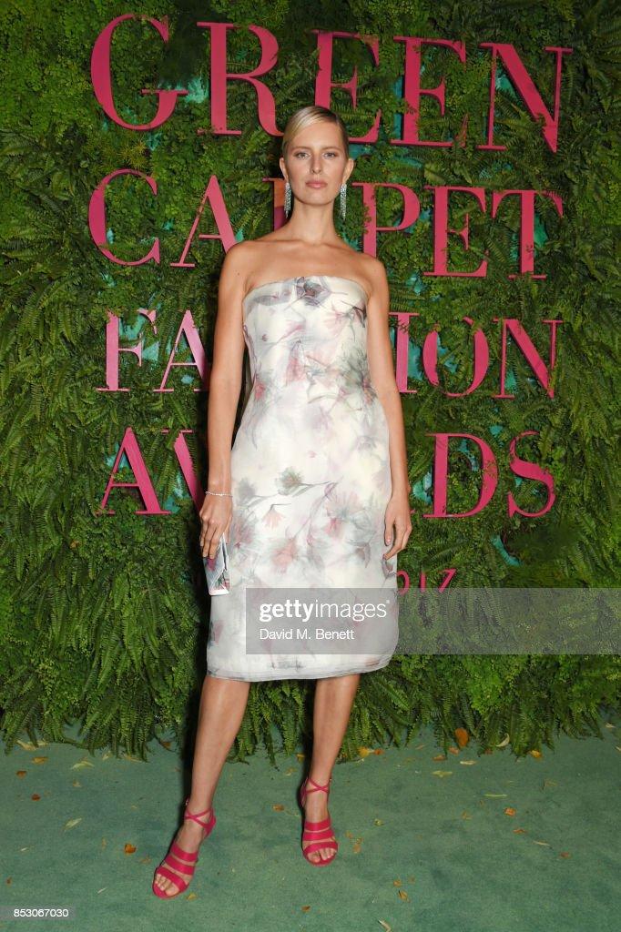 Karolina Kurkova attends the Green Carpet Fashion Awards, Italia, wearing Salvatore Ferragamo for the Green Carpet Challenge at Teatro Alla Scala on September 24, 2017 in Milan, Italy.